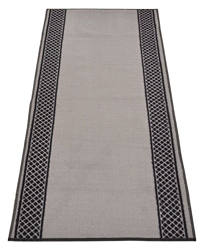 Custom Runner Pinoletti Border Roll Runner 26 Inch Wide x Your Length Size Choice Slip Skid Resistant Rubber Back Color Options Available (Grey, 30 ft x 26 in) by RugStylesOnline