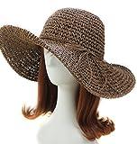 Idealgo Hot Sale Bohemia Fashion Korean Floppy Summer Bow Women's Straw Sun Hat Cap Roll-up Crocheted Sun Hat for Holiday Travel Beach Swimming Beach