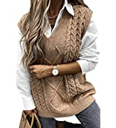 AlvaQ Women Oversized Cable Knitted Sweater Vest Vintage V Neck Loose Sleeveless Sweaters Tops