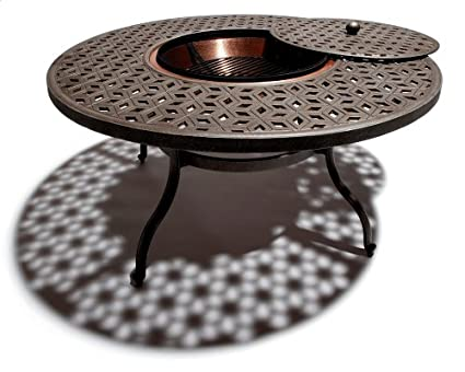 Amazon Com Strathwood Shaw Cast Aluminum Round Table With Fire Pit