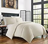 Zen Bamboo Ultra Soft 3-Piece Rayon Derived Bamboo Duvet Cover Set - Hypoallergenic and Wrinkle Resistant - Full/Queen - Cream