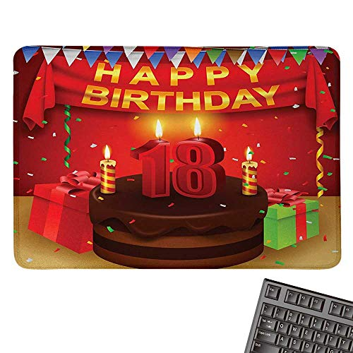 18th BirthdayCustomize Mouse pad18 Happy Birthday Party with Curtains Cakes Baloons Adulthood ImageCustomized Mouse Pad 15.7
