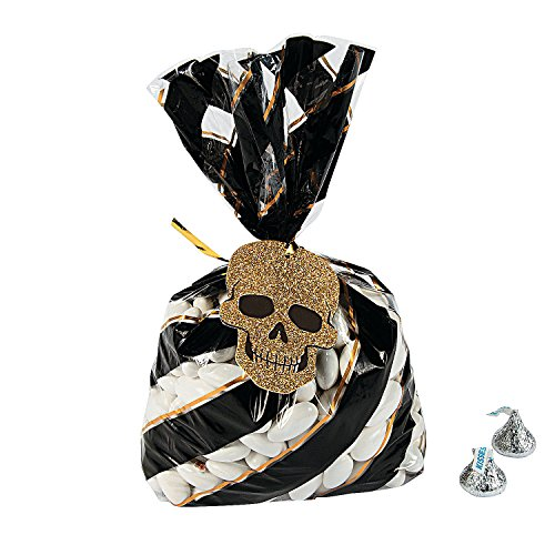Fun Express - GlitS-O-Ween Treat Bags W/Tags (24pc) for Halloween - Party Supplies - Bags - Cellophane Bags - Halloween - 24 Pieces