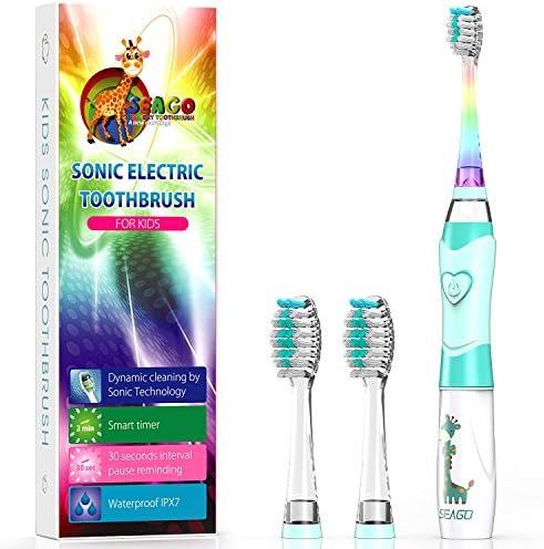 Elektrische Zahnbürste Kinder Ultraschall Batterie kinderzahnbürste mit Timer mit Schalltechnologie für Jungen und Mädchen (Grün)
