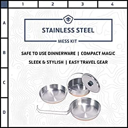 STANSPORT – Stainless Steel Mess Kit for Camping,Backpacking & Outdoors