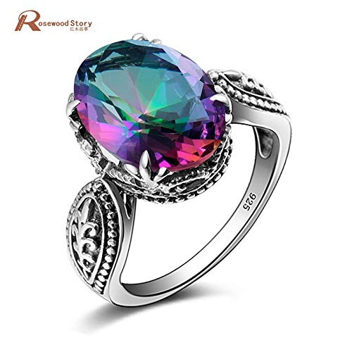 - Rainbow Fire Mystic Topaz Crystal Engagement Wedding Ring | Solid Sterling Silver Ring | Women Fashion Jewelry