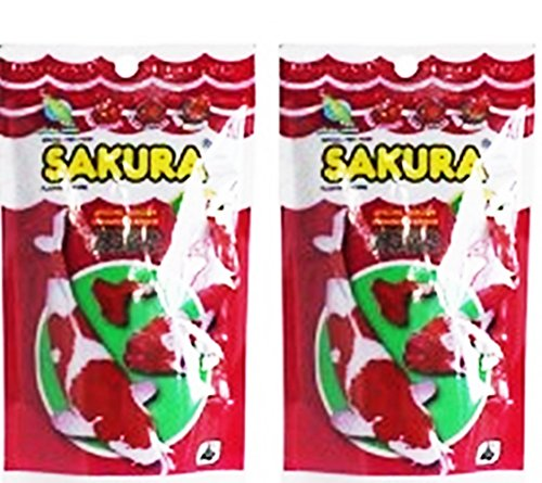 2 Packs of 3.5 oz (100 g) Total 7 oz Sakura Gold 100 g (Tiny Pellet) Tropical Aquarium Koi Goldfish Flakes Floating Type Fish ()