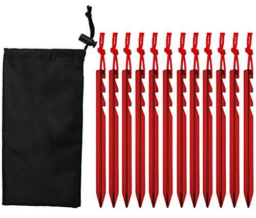 WZT 12 Pcs tent stake. Heavy duty lightweight strong aluminum alloy pegs for camping, rain tarps, hiking, backpacking. Essential camping & survival gear. ENO Accessory. (Metal Tent)