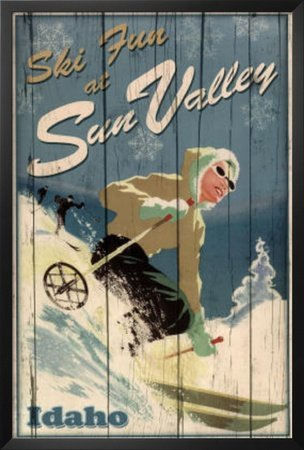 Ski Fun at Sun Valley Idaho Art Print Poster Framed Poster 26 x 38in ()