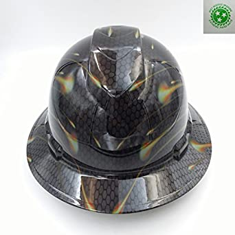 Wet Works Imaging Customized Pyramex Full Brim Black Honeycomb Carbon Hard  Hat With Ratcheting Suspension