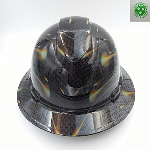 Wet Works Imaging Customized Pyramex Full Brim Black Honeycomb Carbon Hard Hat With Ratcheting -