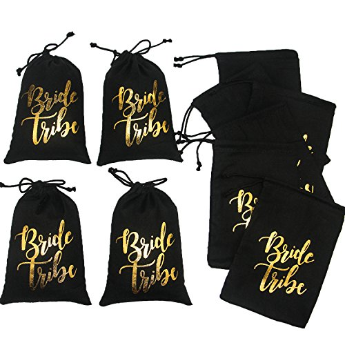 10pcs Wedding Party Favor Bags 5x7 inch Gold FOIL Bride Tribe Black Bridesmaid Gift Bags for Bridal Shower Bachelorette Hangover Kit Bags Recovery Kit Bags Cotton Muslin Drawstring Bag by Memory Journey