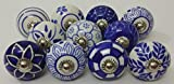 Blue Kitchen Cabinets 10 Blue and White Hand Painted Ceramic Knobs Cabinet Knobs Kitchen Cabinet Drawer Pull handles By Zoya's lot of 10 knobs