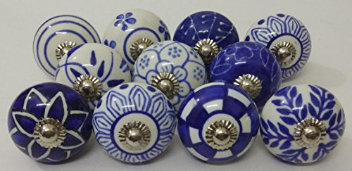 (10 Blue and White Hand Painted Ceramic Knobs Cabinet Knobs Kitchen Cabinet Drawer Pull handles By Zoya's lot of 10 knobs)