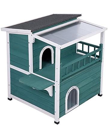 Casa grande para gatos con techo solar