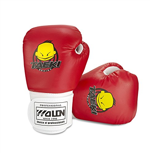 Kids Boxing Gloves, Pu Kids Children Cartoon Sparring Boxing Gloves Training Age 5-12 Years (Red)