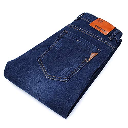 (Cowboy Men Trousers Men's Stretch Jeans Male Casual Regular Fit Straight Retro Denim Pant Classic Clothes(31,008blue))