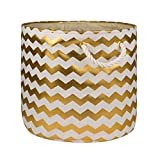 DII Collapsible Polyester Storage Basket or Bin with Durable Cotton Handles, Home Organizer Solution for Office, Bedroom, Closet, Toys, & Laundry (Large Round – 15x12''), Gold Chevron