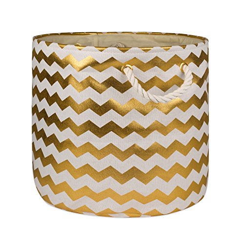 DII Collapsible Polyester Storage Basket or Bin with Durable Cotton Handles, Home Organizer Solution for Office, Bedroom, Closet, Toys, & Laundry (Medium Round - 16x15), Gold Chevron