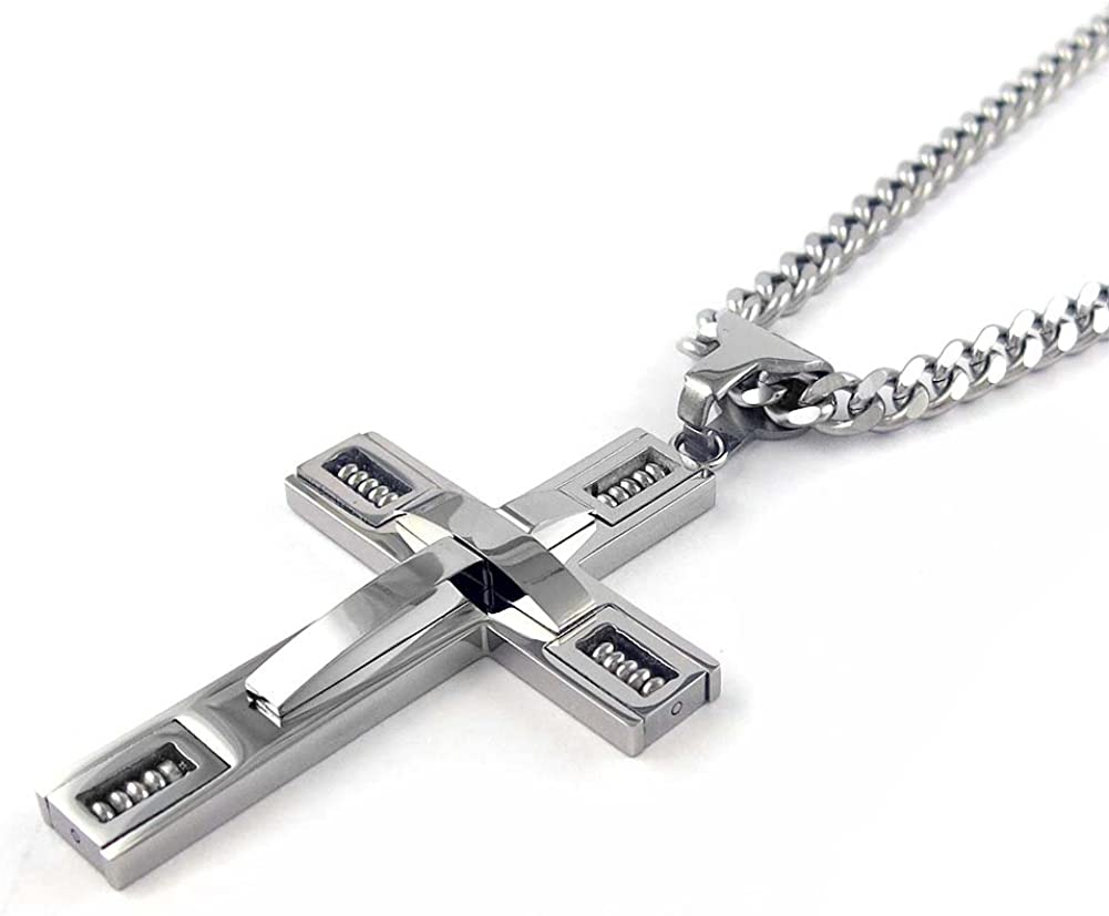 Stainless Steel Cross Pendant 24in Necklace