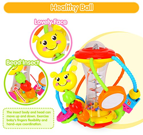 Coolecool Healthy Ball Baby Toys 3 6 Months Baby Rattle Educational Learning Activity Sensory Toys for Infants Babies (Multicolored) by Coolecool (Image #4)