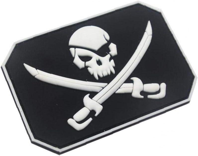 Cr/áneo del Pirata Parches del Patr/ón del PVC 3D De Goma Fastener Parches Militares Insignia Apliques Parches Decorativos para El Aire Libre Blanca