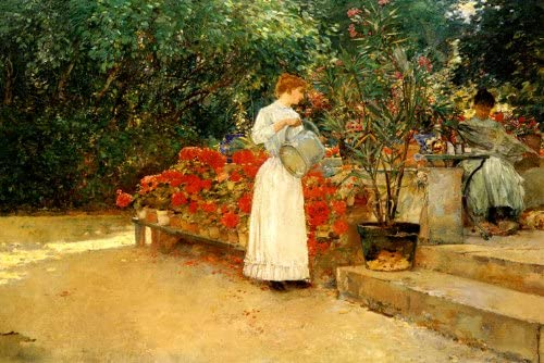 Woman sells flowers by Childe Hassam Giclee Fine ArtPrint Repro on Canvas