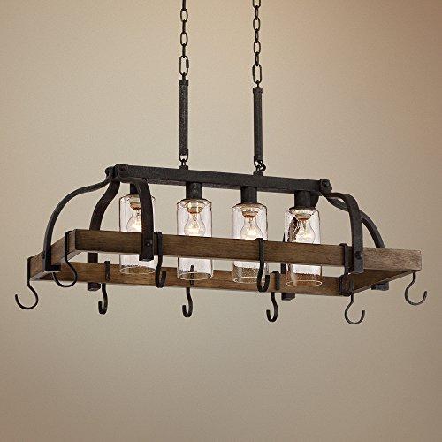 """Eldrige 36 1/2"""" Wide 4-Light Bronze Pot Rack Chandelier"""