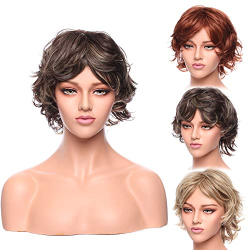 Two Tones Pixie Wig Short Fluffy Dark Brown mixed Blonde Synthetic Heat Resistance Wigs for Women in Good Volume 12inch Long
