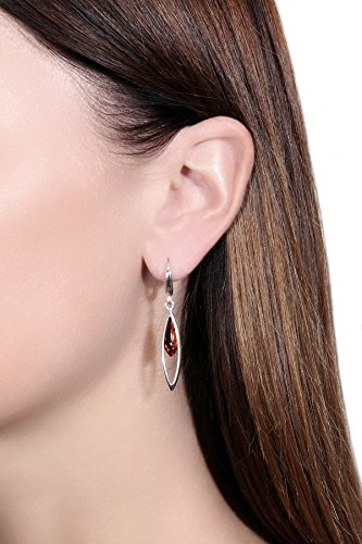 925 Sterling Silver Marquise Leverback Dangle Earrings with Genuine Natural Baltic Cognac Amber.