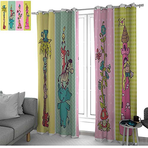 NUOMANAN Customized Curtains Nursery,Vintage Children Banner Set Animals Safari Palm Tree Flowers Princess Mushroom,Multicolor,Blackout Thermal Insulated,Grommet Curtain Panel Set of 2 120