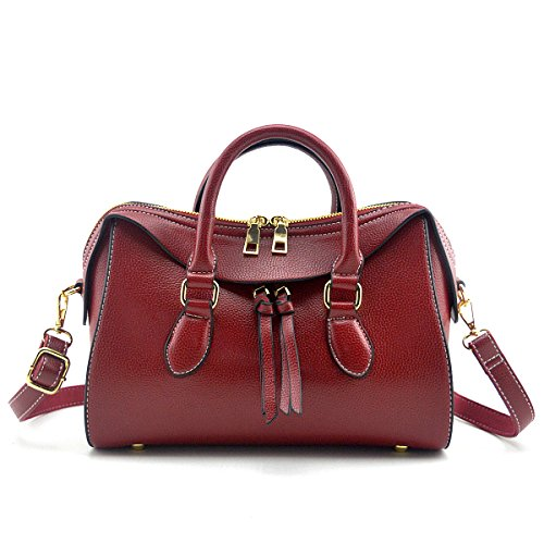 (Mn&Sue Stylish Women Top Handle Doctor Purse Satchel Handbag Medium Shoulder Bag (Wine Red))
