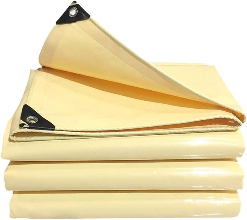 Ma DONG 厚手ターポリン防水日焼け止め布トラックテントキャンバス耐摩耗性ナイフ掻き布雨布、ベージュ、8サイズ YDタープ防水シート (Size : 6mX7m)  6mX7m