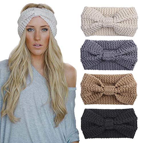 4 Pack Knitted Headbands Winter Headband Ear Warm Crochet Head Wraps for Women Girls (4ColorPackJ)
