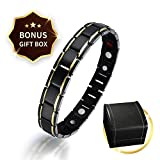 Titanium Magnetic Therapy Bracelet Mens Ladies Black Magnet Bracelet for Pain Relief Fatigue Limb Pain with Free Link Removal Tool with Deluxe Gift Box Ideal Gift for Father's Day/Valentine's Day