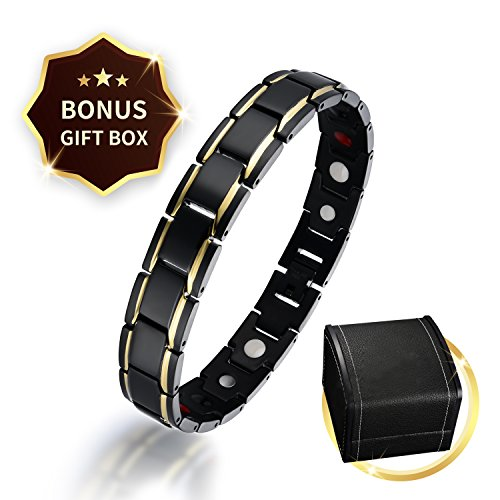 (Titanium Magnetic Therapy Bracelet Mens Ladies Black Magnet Bracelet for Pain Relief Fatigue Limb Pain with Free Link Removal Tool with Deluxe Gift Box Ideal Gift for Father's Day (Black-Gold))