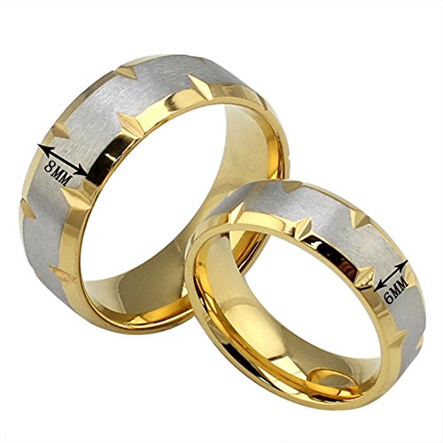 The New Golden Couple Titanium Steel Rings Couple Rings Wholesale (10, men) by weidan jewelry