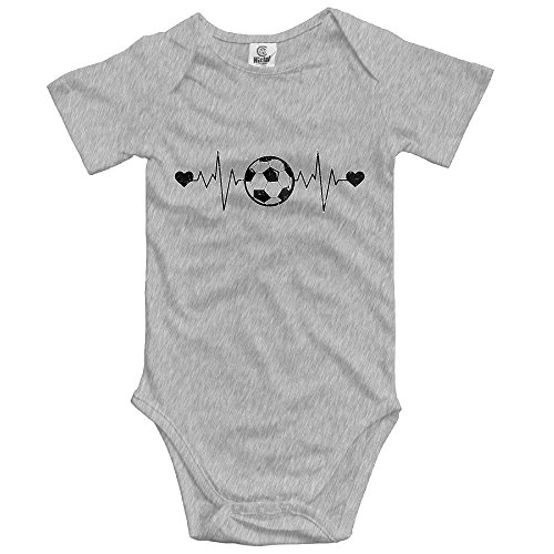 Boys Girls Baby Cotton Baby Onesies Soccer Heartbeat Love Infant Bodysuits Ash ()