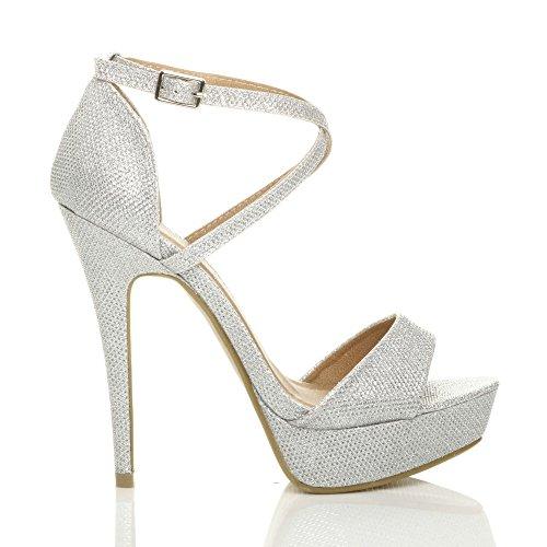 Donna taglia aperta sandali scarpe Scintillio alto incrociati fibbia punta cinturini tacco Argento pwc7xzrUqp