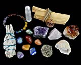 White Sage, Palo Santo Wood & Crystal Healing Kit (17Pc) ~ Smudge Stick, Palo Santo Sticks, Raw Crystals, Quartz Obelisk, 7 Chakra Stones, +Bracelet & Spiral Pendant Necklace w COA & Info Card