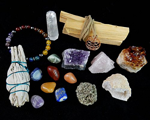 White Sage, Palo Santo Wood & Crystal Healing Kit (17Pc) ~ Smudge Stick, Palo Santo Sticks, Raw Crystals, Quartz Obelisk, 7 Chakra Stones, +Bracelet & Spiral Pendant Necklace w COA & Info (White Crystal Gemstone)