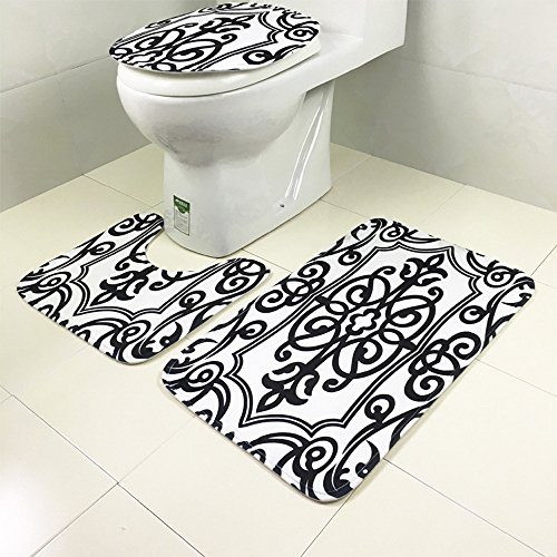 ChezMax Black and White Geometric Pattern Non-slip 3 Piece Bathroom Rug Sets Bath Mat Contour Rug Toilet Lid Cover