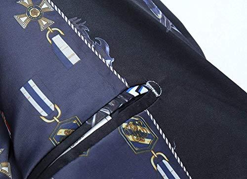Uomini 2 Blu Casuale Rivestimento Fit Giacca Uomo Tempo Libero Pulsante Stampati Degli Chic Modellato Slim Per Il aITxxtqwA