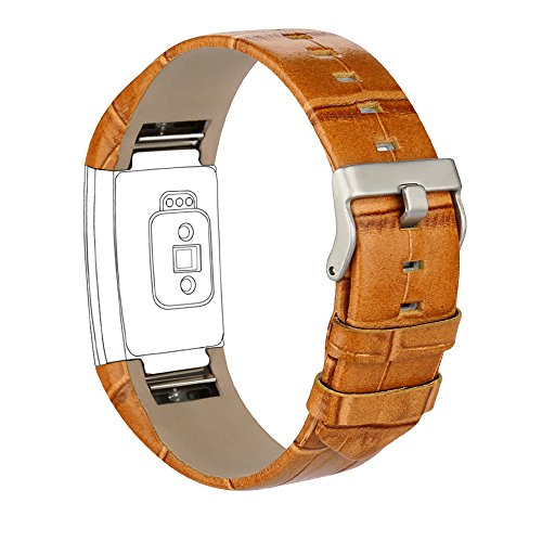 iGK Leather Replacement Bands Compatible for Fitbit Charge 2, Genuine Leather Wristbands Brown Bamboo-Grain