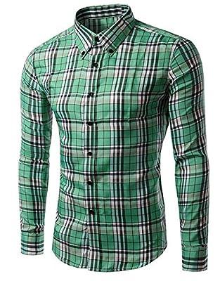 OULIU Mens Classic Slim Fit Long Sleeves Plaid Dress Shirts