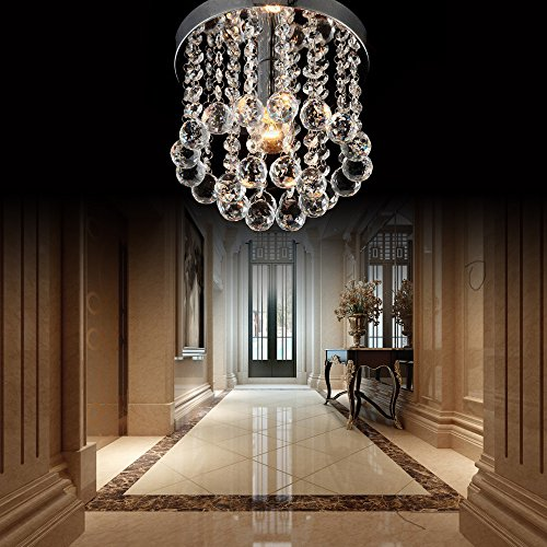ZEEFO Crystal Chandeliers Light, Mini Style Modern Décor Flush Mount Fixture With Crystal Ceiling Lamp For Hallway, Bar, Kitchen, Dining Room, Kids Room (8 inch) by ZEEFO (Image #2)