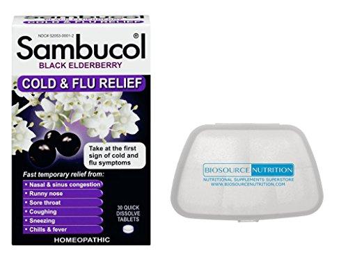 (Sambucol Black Elderberry 30 Quick Dissolve Tablets in Bundle with Biosource Nutrition Pocket Pill)
