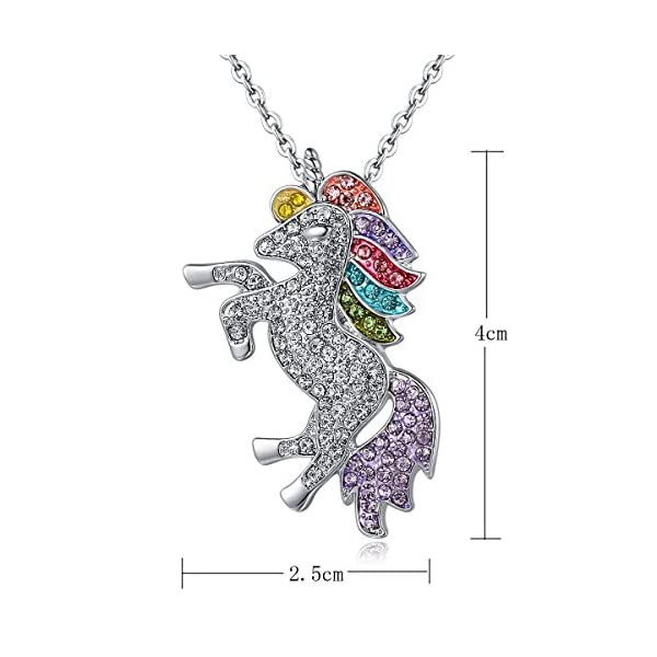 Mcgreen Crystal Unicorn Pendant Necklace Little Princess Rainbow Animal Necklace Gift for Girl Ladies 5