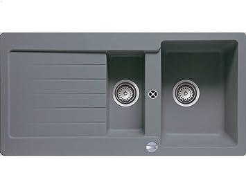 TEKA LUGO 60 B-TG Aluminium Grau Metallic Granit-Spüle Einbauspüle ...