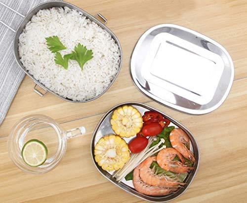 Caja de Almuerzo de Acero Inoxidable Caja de Bento 2 en 1 caja de Alimentos Respetuosa del Medio Ambiente: Amazon.es: Hogar